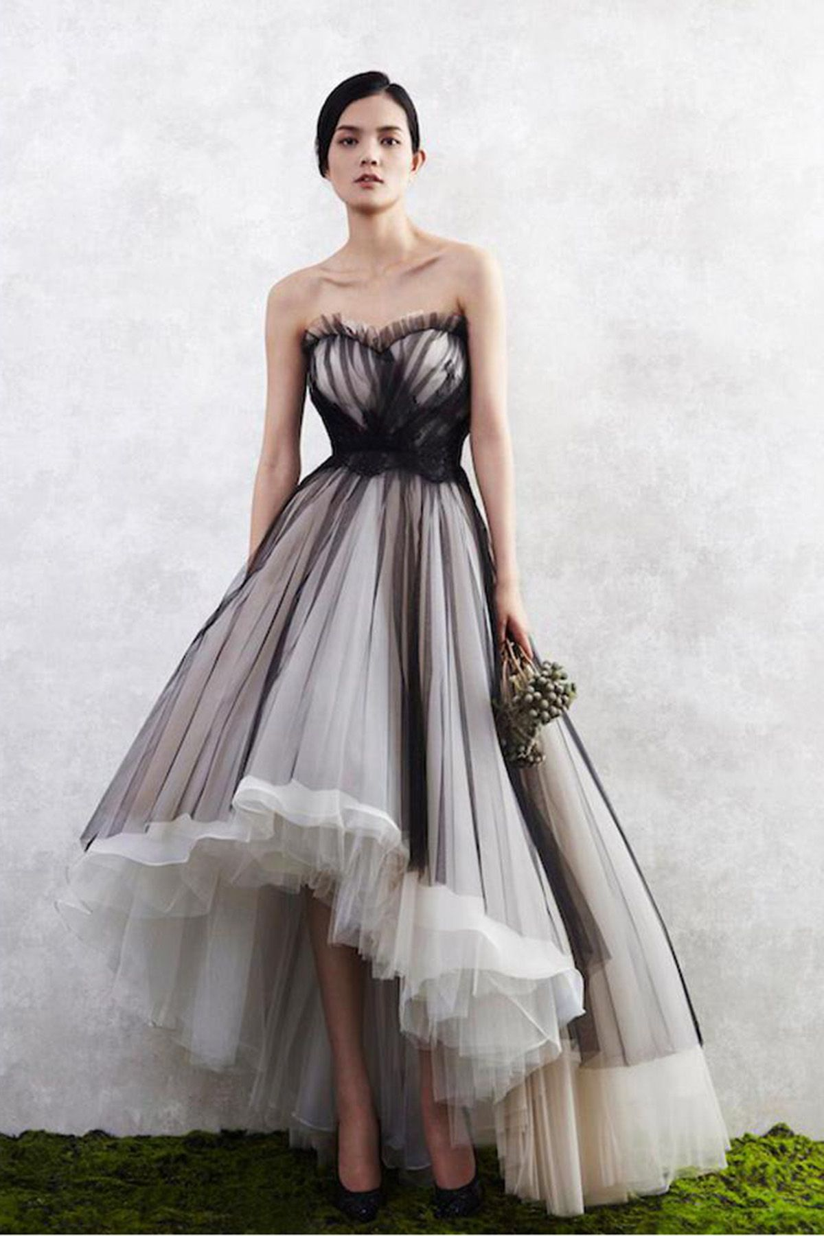 Simple white and black tulle high low prom dress strapless