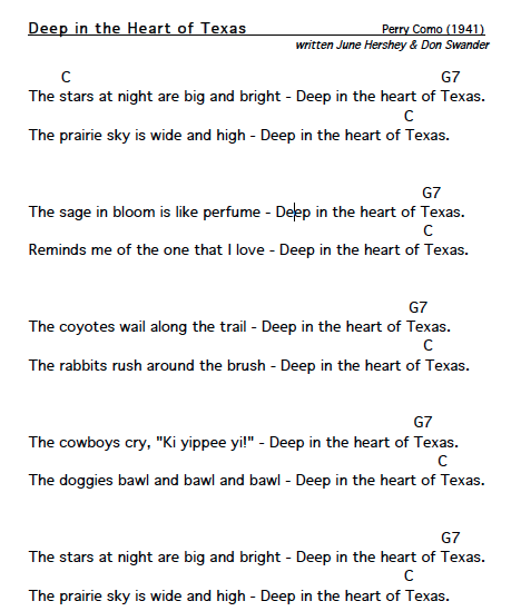 Lyrics And Chords For Deep In The Heart Of Texas A Traditional