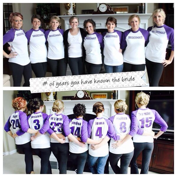Bridesmaids shirts for the day of, showing the number of years the bride has known each bridesmaid. They came off easily and didn't mess up the updos.