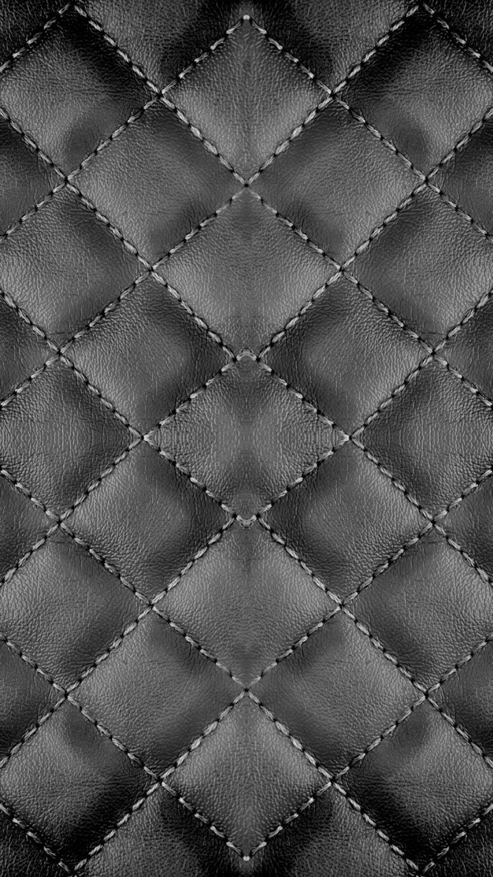 Checker Stitches Black Leather texture background. iPhone