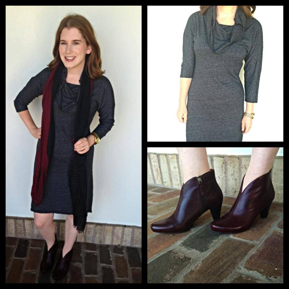 A sweater dress that ISN'T clingy!!?? Yes! It's true! Available XS-L, Lindsey in XS. We also have these new oxblood booties in the store!