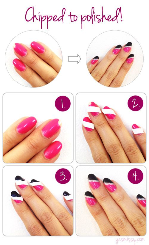 How to save a chipped manicure AND give your nails a fun geometric design