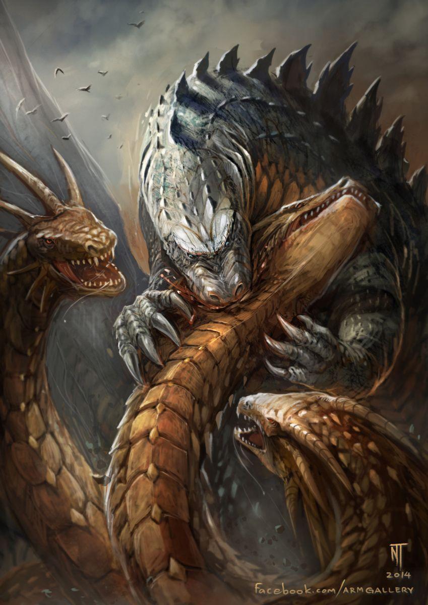 Godzilla vs Ghidorah by Grav3soul deviantart com on @deviantART