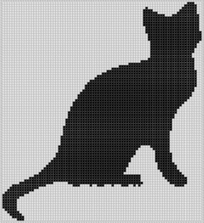 Черный котик вышивка