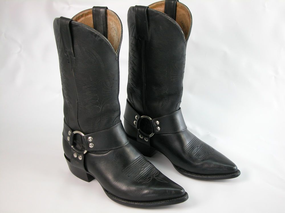 38f2c0a59d0 Men's Black Leather Rodeo Bravo Harness Boots US Sz 7.5 Made In ...