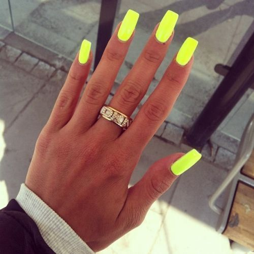 Summer Nails Long Square Nails Neon Yellow Nails Neon Nail Art