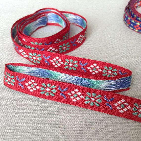 Scandinavian 1 2cm Ribbon Premium Quality Woven Ribbon Blue Aqua And White Flowers With Geom Embroidered Friendship Bracelet Things To Sell Red Background