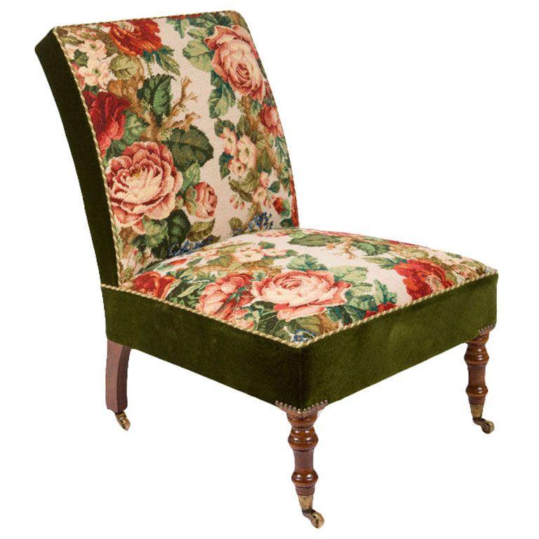 Needlepoint Upholstered Slipper Chair
