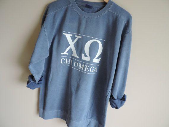 New Chi Omega Comfort Colors Stripe Crewneck Sweatshirt Size
