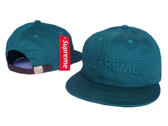"Mens Supreme 6 Panel Tonal ""Supreme"" Logo 2016 USA Best Selling Top Quality Leather Strap Back Snapbacka Cap - Teal"