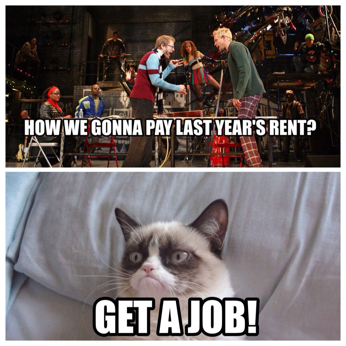 Rent and grumpy cat #theatrelife