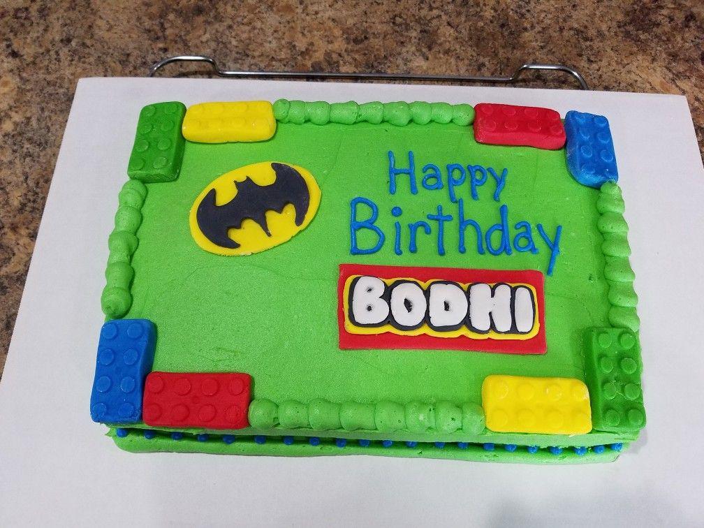 Simple Lego Cake With Batman Logo Buttercream And Fondant Lego