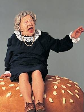 """""""Where's the beef?"""" (Often-quoted Wendy's TV ad starring Clara Peller, 1984.)"""