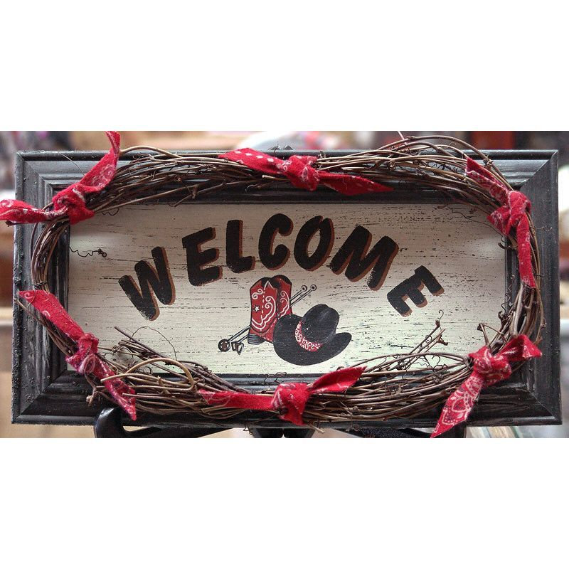 CLEARANCE! Large Red Bandana Western Welcome Sign | Buffalo Trader Online