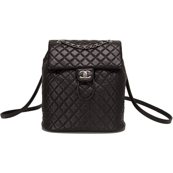 c3d46282d58b90 Pre-Owned Chanel Urban Spirit Black Lambskin Large Backpack (7 320 AUD) ❤  liked on Polyvore featuring bags, backpacks, chanel, black, pocket bag, ...