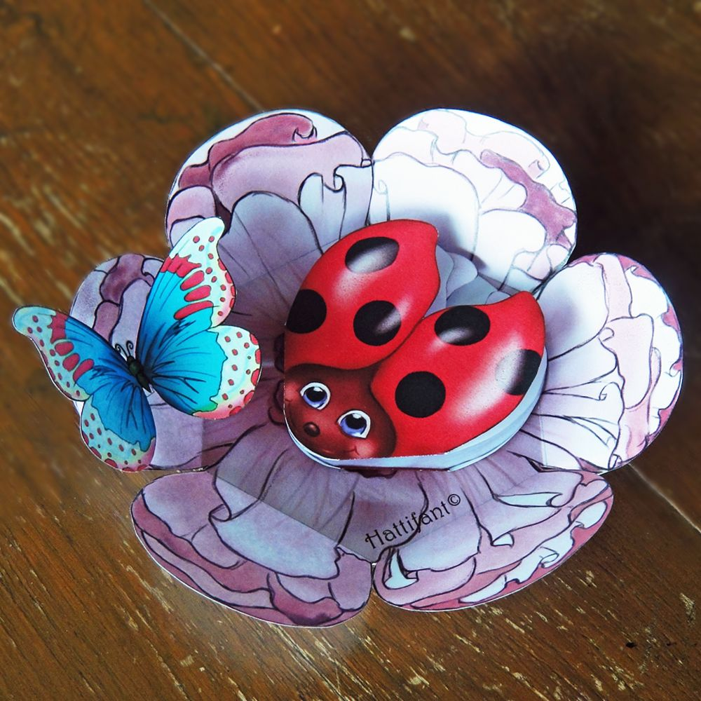 Ladybird & Butterfly Pop Up Card - Hattifant