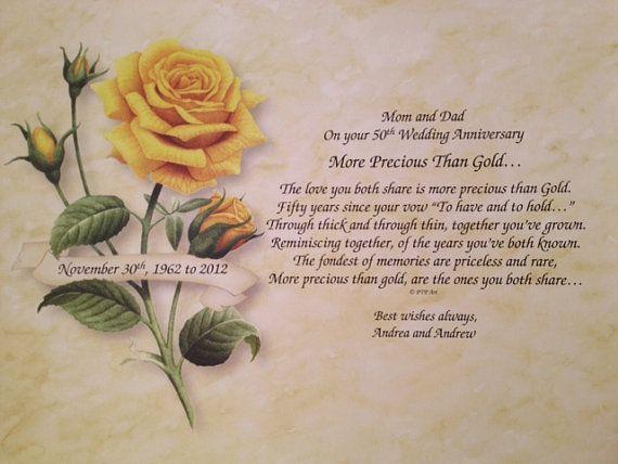 50th Anniversary Gift, Golden Anniversary, 50th Wedding