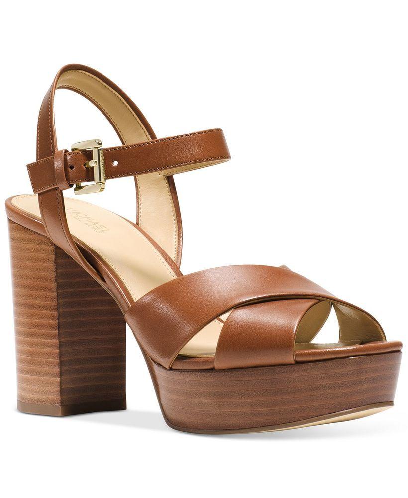 372e86f52fc9 MICHAEL Michael Kors Women s Divia Platform Sandals Size 8.5 Luggage Leather