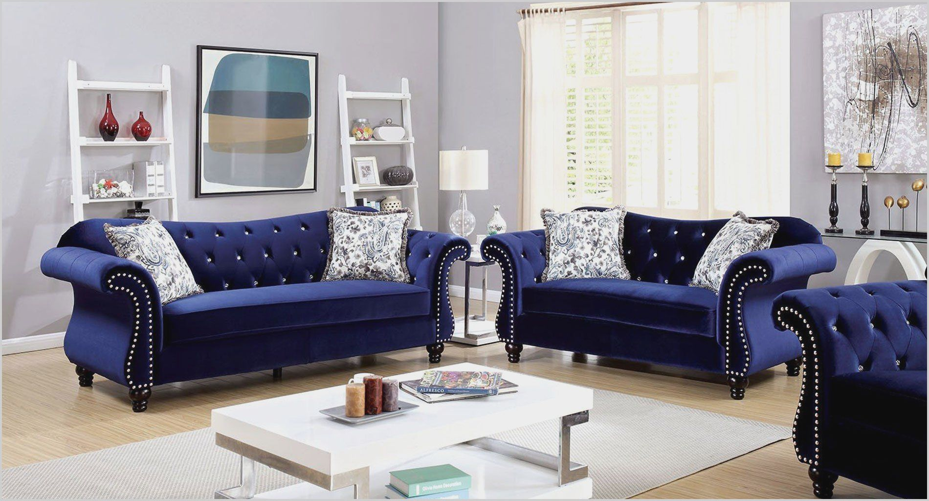 Living Room with Navy Blue sofa in 2020 Blue sofas