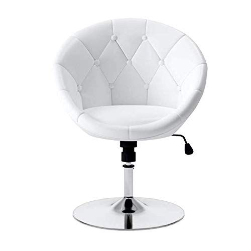 Admirable Moon Saucer Chair White Tufted Leatherette Chrome Metal Base Squirreltailoven Fun Painted Chair Ideas Images Squirreltailovenorg
