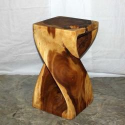 12 Inches Square X 20 Inch Monkey Pod Wood Twist Tung Oil End Table Thailand Monkey Pod Wood Twisted Oak Handmade Wood
