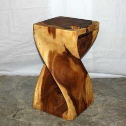 12 Inches Square X 20 Inch Monkey Pod Wood Twist Tung Oil End Table Thailand Monkey Pod Wood Twisted Oak Handmade Wood