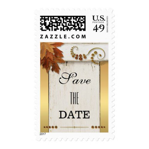 Thanksgiving Invitation Rustic Fall Leaves Save The Date Postage Stamp