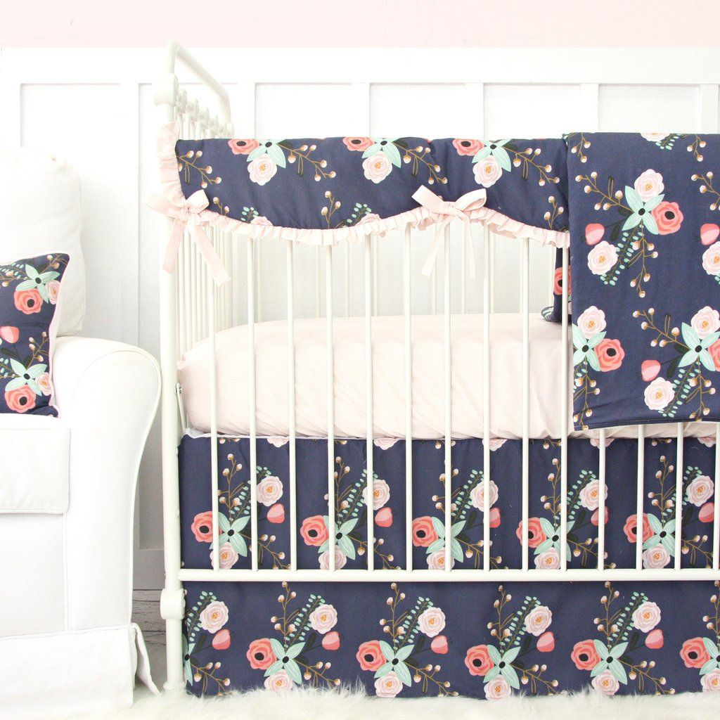 This Dark Floral Blush Pink And Navy Crib Bedding Set Is Adorable For Any Baby Girl S Nursery Crib Bedding Girl Baby Girl Crib Bedding Baby Girl Crib