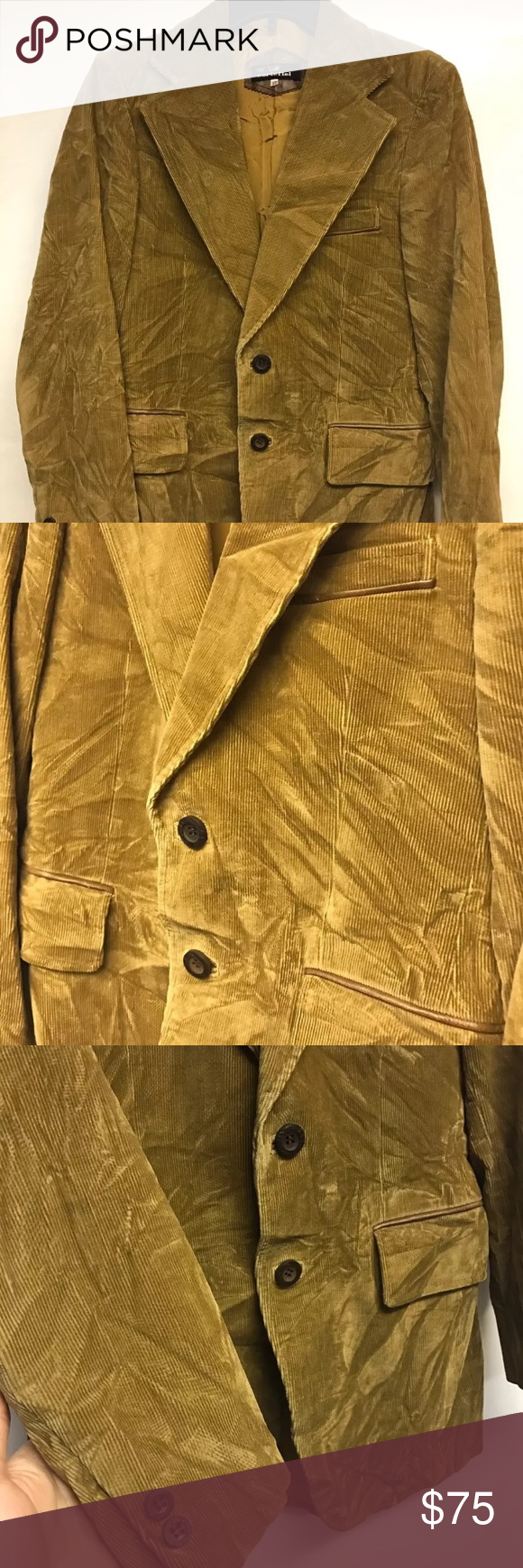 Vintage Cortefiel Corduroy Suede Gold Jacket 37 Men's size