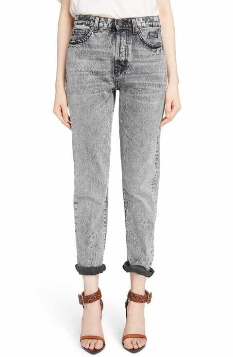 new york enjoy bottom price best selection of Saint Laurent Embroidered Logo Slim Boyfriend Jeans | UFAU ...