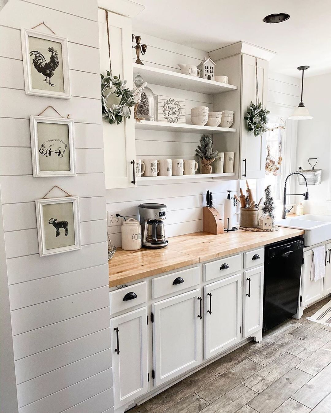 Farmhouse Fanatics On Instagram Comment Your Favorite Thing About This Kitchen In 2020 White Farmhouse Kitchens Open Shelving Kitchen Cabinets Grey Kitchen Floor