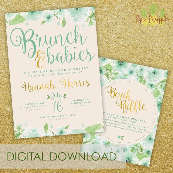 Brunch U0026 Babies Baby Shower Invitation   Printable