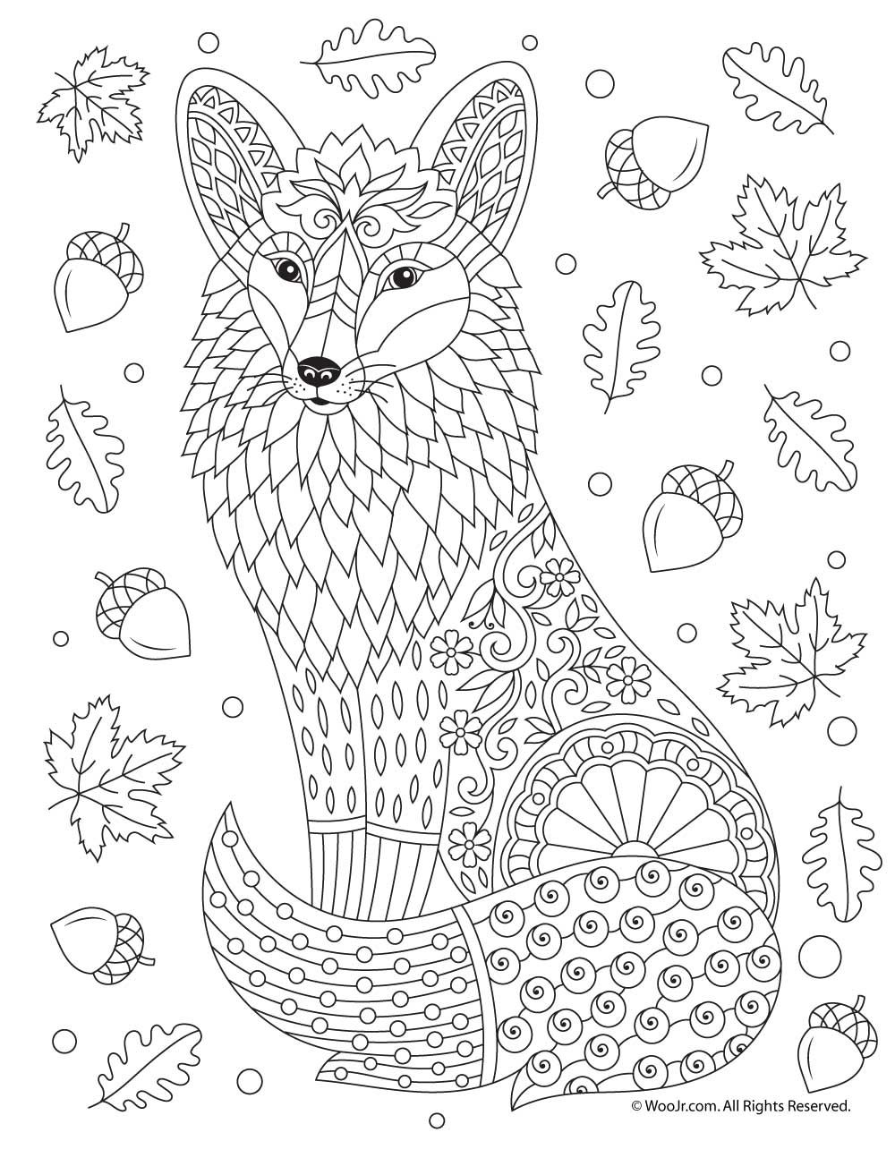 Fall Animal Adult Coloring Pages Fox Coloring Page Fall