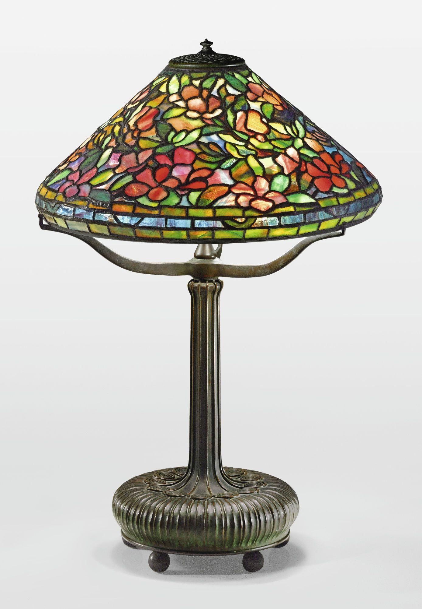 Tiffany Studios A Rare Azalea Table Lamp Shade With Small Early Tag Impressed Tiffany Stvdios New Antique Lamp Shades Small Lamp Shades Rustic Lamp Shades