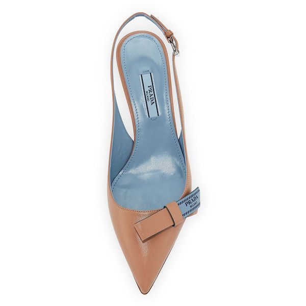 576de80d2 Prada Logo-Bow Leather Slingback Pump ($800) ❤ liked on Polyvore featuring  shoes, pumps, leather footwear, logo shoes, leather slingback shoes, leather  ...