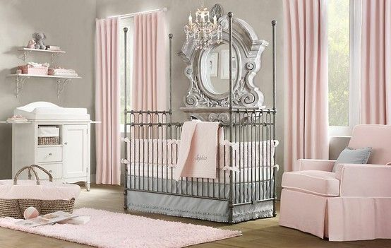 Love the grey walls and pink touches for a girl's room!  @baby baby-thoughts