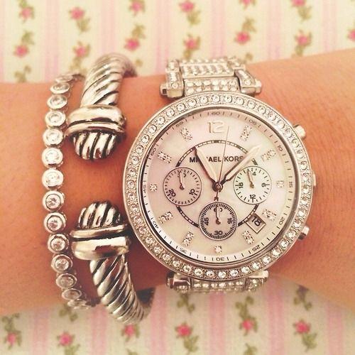 • me girl fashion Glitter luxury pink silver expensive michael kors classy Preppy prep glitz David Yurman michael kors watch silver watch