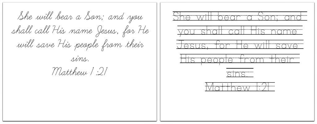 printable handwriting practice sheets with 8 christmas bible verses pray learn advent. Black Bedroom Furniture Sets. Home Design Ideas