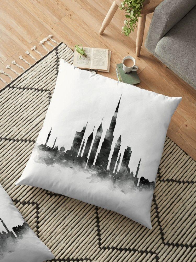 Dubai Skyline Floor Pillow By Monnprint Floor Pillows Pillows Dubai