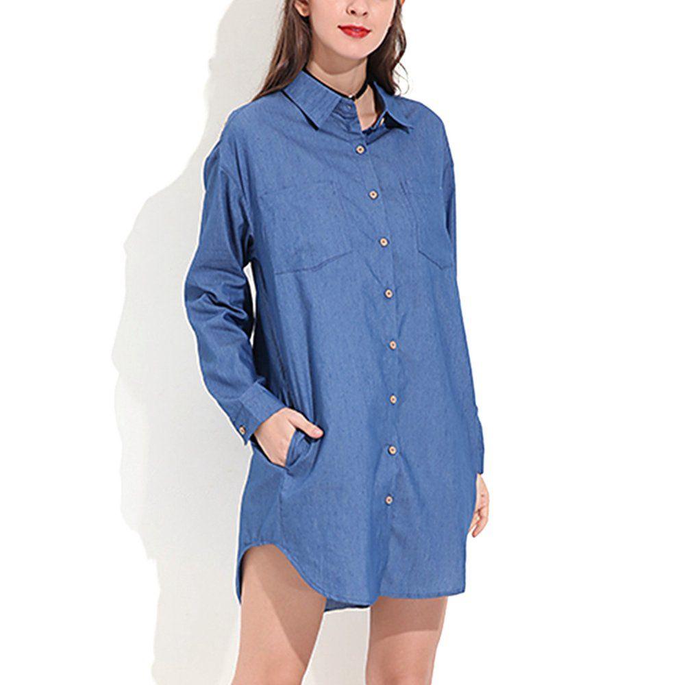 Zanzea Women S Casual Long Sleeve Denim Button Down Shirt Dresses Walmart Com Walma In 2021 Long Sleeve Chambray Shirt Women S Button Down Shirt Mini Shirt Dress [ 1000 x 1000 Pixel ]