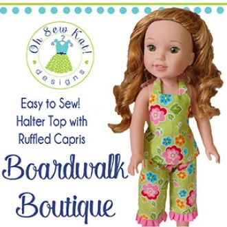 Wellie Wishers Boardwalk Boutique Halter and Capri Pattern | YouCanMakeThis.com