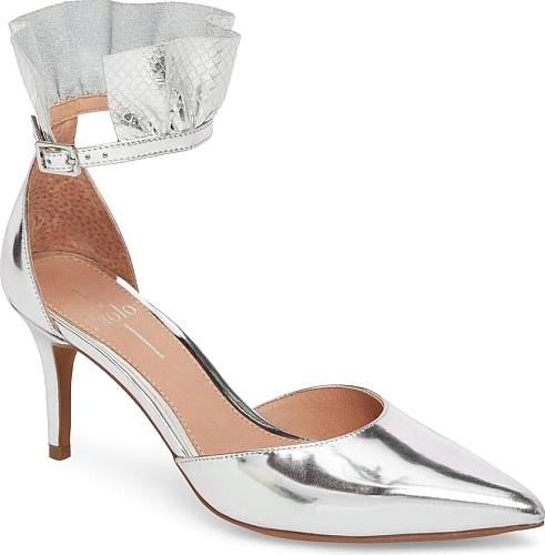 Linea Paolo Women's Shoes in Silver Printed Leather Color. A perfectly  puckered ruffle brings a