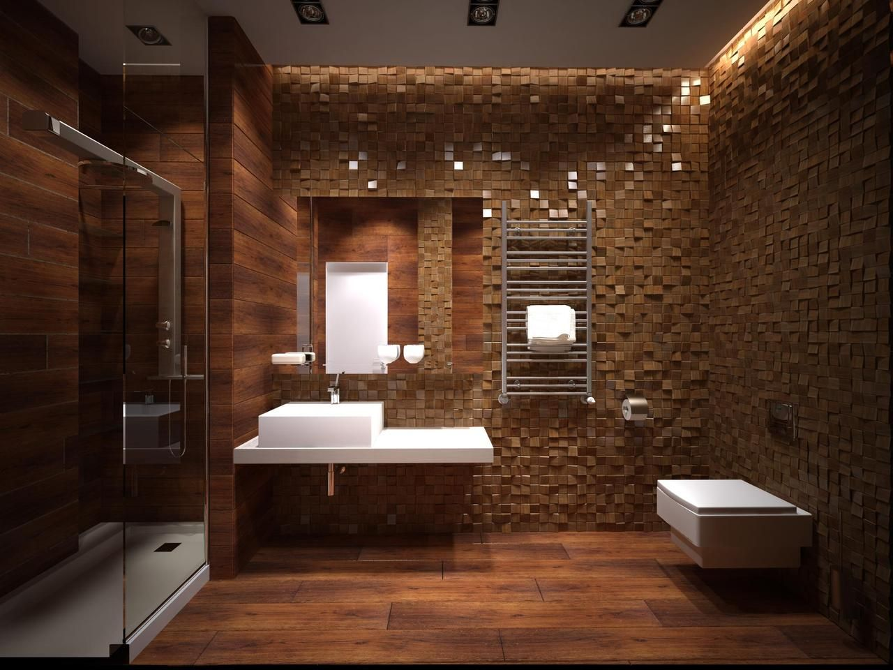 Good Hi Tech Bathroom Interior Design With Unique Wall