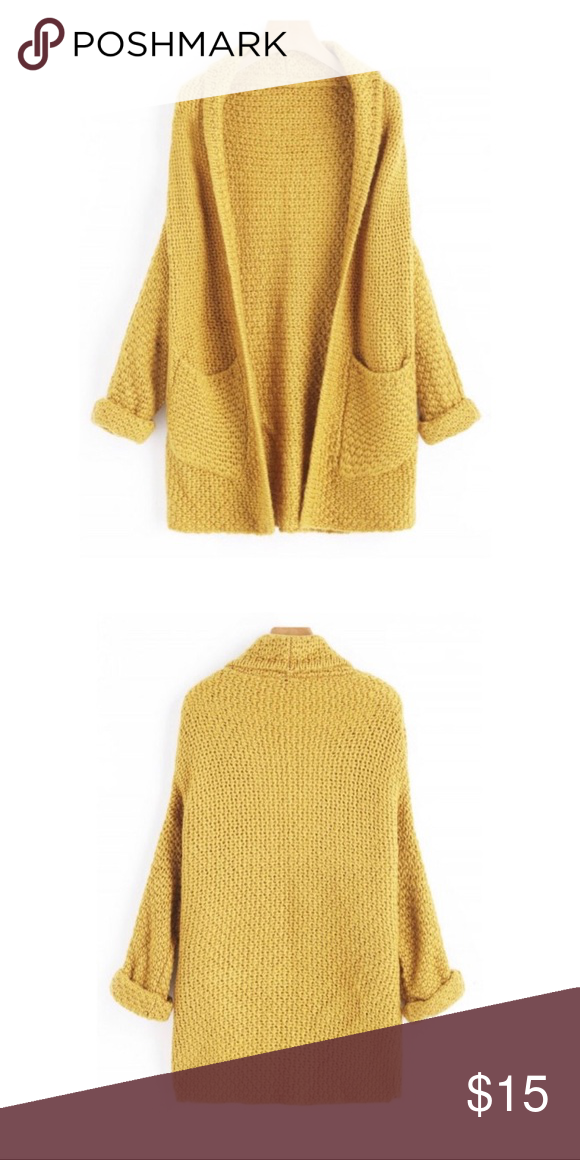 8a369c84177 Curled Sleeve Batwing Mustard Yellow Cardigan I bought several of these and  ended up only opening and using one. This is a Zaful Mustard Yellow Curled  ...
