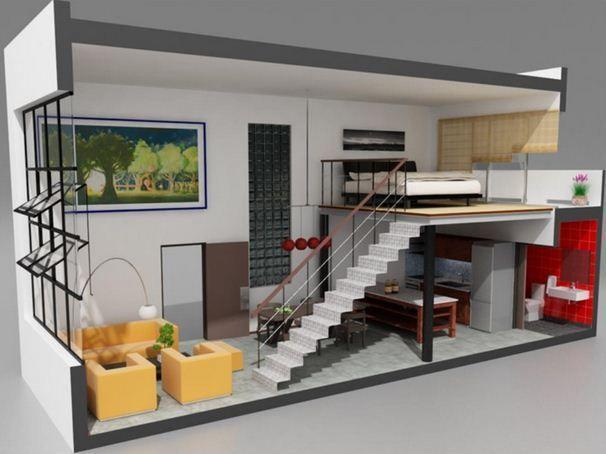 Planos de lofts modernos en 3d construcio pinterest for Casa minimalista maqueta