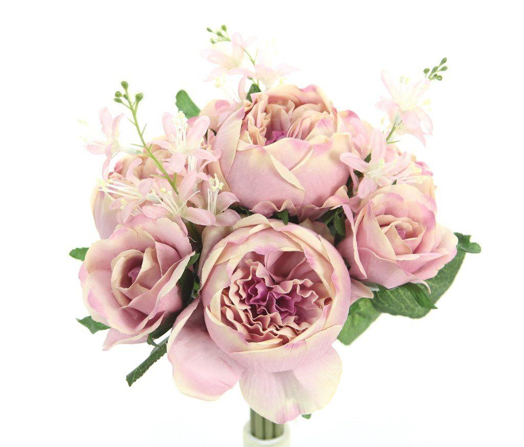 English Rose Silk Flower Bouquet Mauve Silk Flowers Silk Flowers