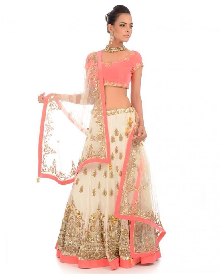 94592f677e Peach Gold and White Lengha♥ | Meri Desi Look | Indian dresses ...