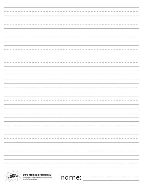Printable Primary Lined Paper Paging Supermom Favorite Places - Print College Ruled Paper