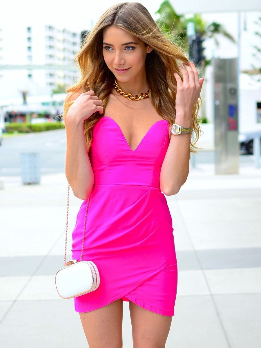 Strapless-Slim-Stretch-Party-Bodycon-Pink-Summer-Dress | Summer ...