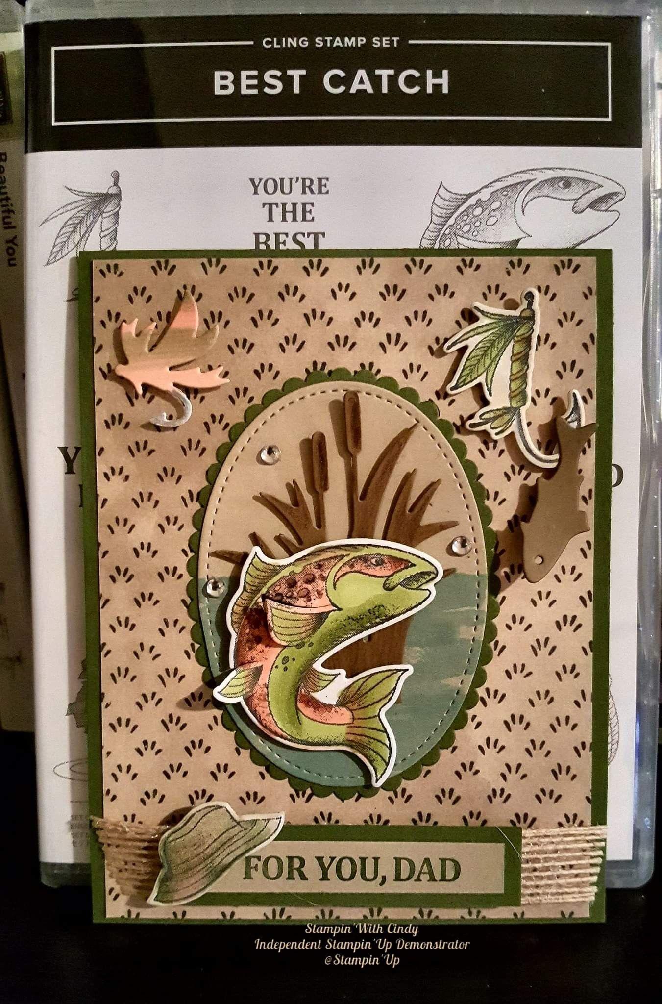 BASS HANDMADE BEST CATCH STAMPIN UP FISH BIRTHDAY CARD KIT FISHERMAN